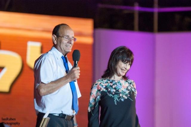 נורית הירש עם עדי אלדר ראש עירית כרמיאל 2015